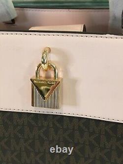 Michael Kors Gramercy Large Satchel Shoulder Bag Mk Brown Signature Pink $448