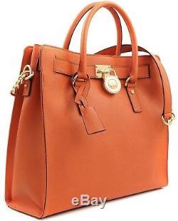 Michael Kors Hamilton Large Ns Orange Saffiano Leather Tote Bag Purse $358 Nwt