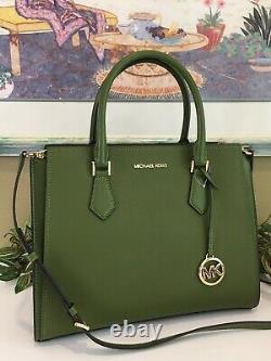 Michael Kors Hope Large Satchel Shoulder Bag Tote Purse Green Leather $468