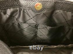 Michael Kors Jet Set Chain Black Pebbled Leather Large Shoulder Tote Bag Purse
