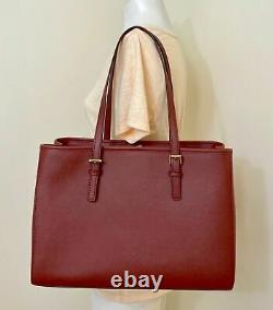 Michael Kors Jet Set Red Saffiano Leather Large East West Tote & Dustbag