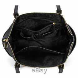 Michael Kors Jet Set Saffiano Black Leather Large Tote Handbag MK30F4GTTT9L