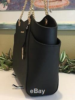 Michael Kors Jet Set Travel Large Chain Shoulder Tote Bag Black Leather $378