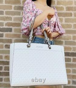 Michael Kors Jet Set Travel Large Commuter Tote Laptop Bag Bright White MK Grey
