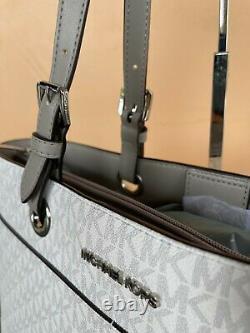 Michael Kors Jet Set Travel Large Multifunction Commuter Tote Bag Mk White Grey