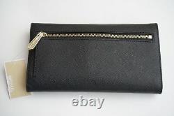 Michael Kors Jet Set Travel Saffiano Leather Large Trifold Wallet Black/gold
