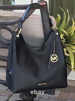 Michael Kors Joan Large Slouchy Shoulder Bag Hobo Lady Purse Black Leather Gold