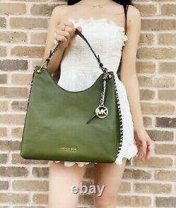 Michael Kors Joan Large Slouchy Shoulder Bag Hobo Tote Evergreen Leather Python
