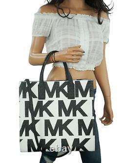 Michael Kors Kenly Large Graphic Logo Tote Satchel Bag Mk White Black