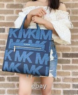 Michael Kors Kenly Large North South Tote Graphic Logo MK Crossbody Blue