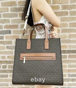 Michael Kors Kenly Large North South Tote Leather Brown MK Signature Luggage
