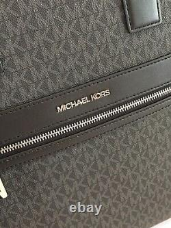 Michael Kors Kenly Large Ns Tote Crossbody Bag Satchel Mk Black Signature Silver