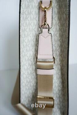 Michael Kors Kenly Large Ns Tote Satchel Bag Pvc Leather Mk White Pink