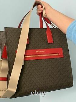 Michael Kors Kenly Large Tote Brown MK Signature Red Bag Wallet Set
