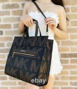 Michael Kors Kenly XL Large NS Tote Satchel Bag Brown MK Graphic Logo Black