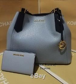 Michael Kors Kimberly Grab Bag Leather Tote and Slim Bifold Wallet Set NWT