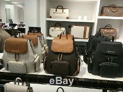 Michael Kors Large Cargo ABBEY MK Signature Women Backpack Bag