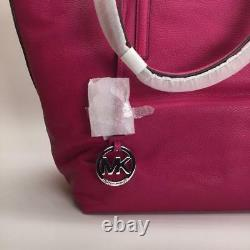 Michael Kors Large Izzy Fuchsia & Silver Leather Tote / Shoulder Bag NWT