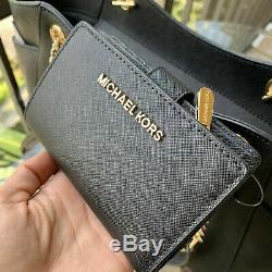 Michael Kors Large Leather Shoulder Tote Handbag Purse Black Bag + Bifold Wallet