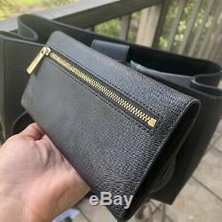 Michael Kors Large Leather Tote Shoulder Handbag Purse Black Bag+ Trifold Wallet