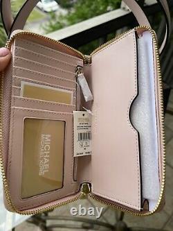 Michael Kors Large Shoulder Tote Bag Brown Signature Blush Pink Bag+walet