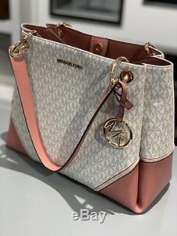 Michael Kors Large Shoulder Tote Leather PVC Handbag bag White Vanilla Pink Gold