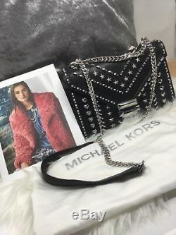 Michael Kors Large Whitney Silver Studded Shoulder Bag