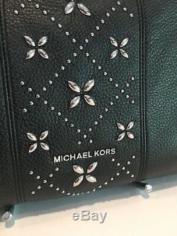 Michael Kors Leighton Large Stud Shoulder Tote Bag Hobo Black Leather Silver