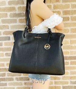 Michael Kors Lenox Large Tote Pebbled Leather Shoulder Bag Black + Wallet