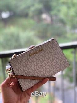 Michael Kors Medium Large Shoulder Tote Vanilla Gold Bag Handbag + Zip Wallet MK