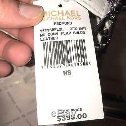 Michael Kors Medium Leather Crossbody Shoulder Handbag Bag Purse White Silver