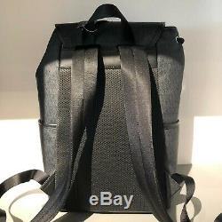 Michael Kors Mens Large XL Leather Travel Shoulder School Backpack Bag Black New
