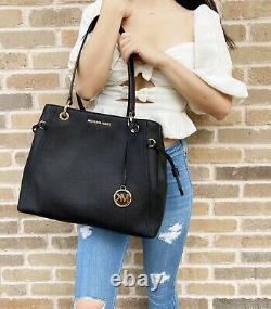 Michael Kors Nicole Large Grab Bag Drawstring Tote Black + Jet Set Wallet