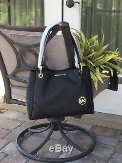Michael Kors Nicole Large Shoulder Tote Bag Black Leather Gold $448