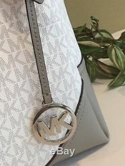 Michael Kors Nicole Large Shoulder Tote Bag Mk White Signature Grey $448