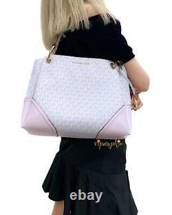 Michael Kors Nicole Large Shoulder Tote Bag Vanilla Blossom Pink Powder Blush