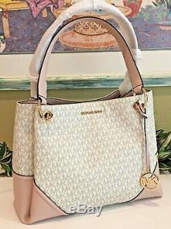 Michael Kors Nicole Large Shoulder Tote Bag Vanilla Signature Blossom Pink $448