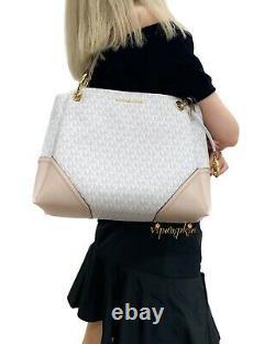 Michael Kors Nicole Large Shoulder Tote MK Logo Bag Vanilla Ballet Pink Multi