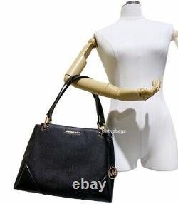 Michael Kors Nicole Large Tote Bag + Jet Set Black Around Zip Wallet Leather