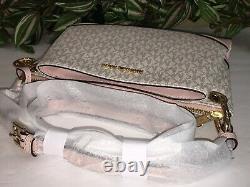 Michael Kors Nicole Triple Compartment Small Crossbody Bag Vanilla Pink Signatur