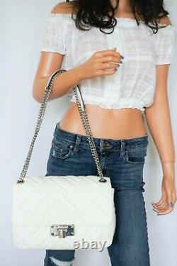 Michael Kors Peyton Large Shoulder Flap Vegan Faux Leather Bag White/silver