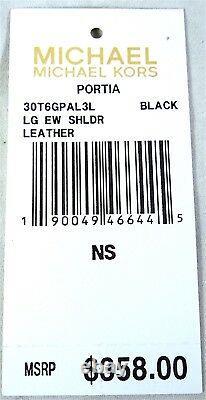 Michael Kors Portia Black Saffiano Large Leather Shoulder Crossbody Bag