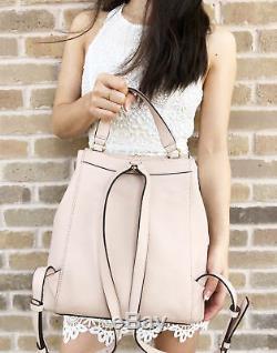 Michael Kors Riley Large Backpack Ballet Pink Gold Studded Drawstring Flap Bag