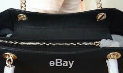 Michael Kors Saffiano Leather Jet Set Travel Chain Shoulder Tote Bag in Black
