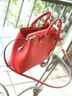 Michael Kors Savannah Leather Large Dark Sangria Satchel Crossbody Handbag Bag