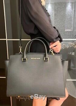 Michael Kors Selma Large Top Zip Satchel Saffiano Leather Bag Black Gold