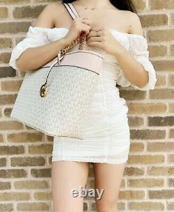 Michael Kors Shania Large Top Zip Tote Vanilla MK Pink + Blossom Trifold Wallet