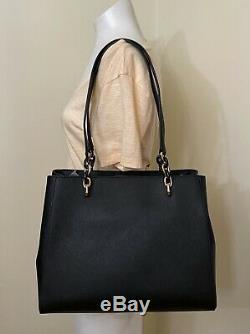 Michael Kors Sofia Black Gold Leather Large Shoulder Tote Bag Purse