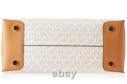 Michael Kors Studio Mercer MK Logo Signature Vanilla Large Convertible Tote Bag