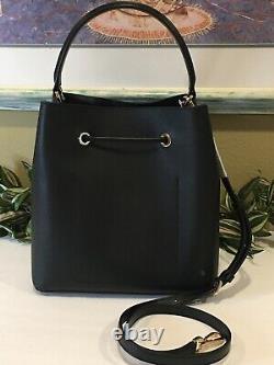 Michael Kors Suri Large Bucket Messenger Shoulder Bag Purse Black Leather Gold